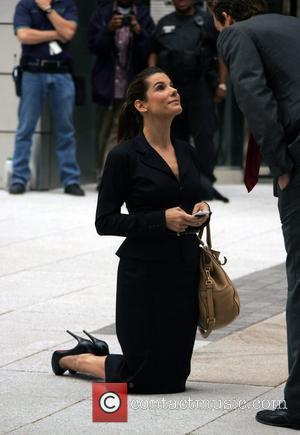 Sandra Bullock and Ryan Reynolds on the film set of 'The Proposal' New York City, USA - 06.06.08