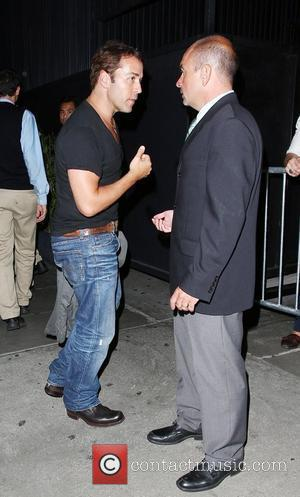 Jeremy Piven gets into a heated argument with a security gaurd about getting into STK restaurant Los Angeles, California -...