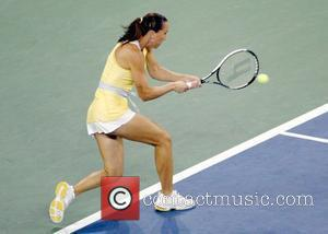 Jelena Jankovic plays a shot during the Women's final 2008 US Open - Day 14 Serena Williams defeated Jelena Jankovic...