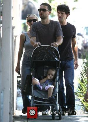 Tobey Maguire, His Wife Jennifer Meyer and Their Daughter Ruby In West Hollywood