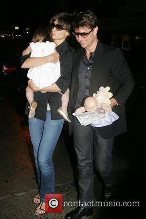 Tom Cruise and Katie Holmes with daughter Suri leaving Nobu restaurant after having dinner New York City, USA - 15.08.08