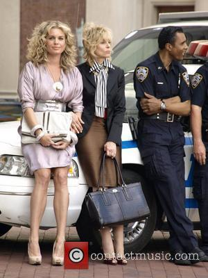 Rebecca Romijn and Judith Light on the set of 'Ugly Betty' filming on Centre St New York City, USA -...