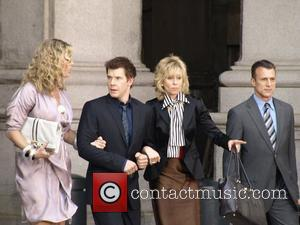 Rebecca Romijn, Eric Mabius and Judith Light on the set of 'Ugly Betty' filming on Centre St New York City,...