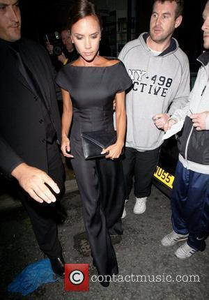 Victoria Beckham  leaving Ithaca restaurant wearing a black evening dress Manchester, England - 28.08.08