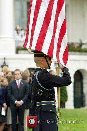 A flag tribute at the White House's moment of silence for the victims of the September 11th 2001 terrorist attacks...