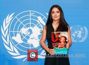 Actress, producer and mother Salma Hayek attends a press conference by UNICEF and Pampers to announce their partnership aimed at...