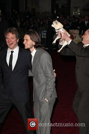 Colin Firth, Stephan Elliott and Fizz the dog