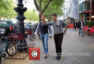 Keith Duffy and Shane Lynch of Boyzone leaving the 104.6 RTL Radio station in Berlin. Boyzone were promoting their new...