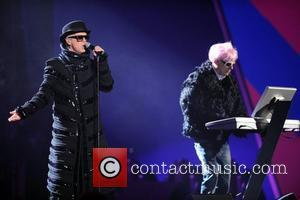 Neil Tennant and Chris Lowe of the Pet Shop Boys The 2009 BRIT Awards - Show held at Earls Court...