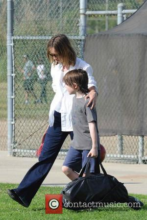 Calista Flockhart and her son, Liam, leaving a Brentwood park after a game Los Angeles, California - 15.05.09
