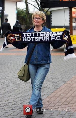 Fans start to arrive for the Carling Cup final between Tottenham Hotspur and Manchester United held at Wembely Stadium London,...