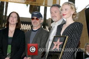 Kathleen Kennedy, Steven Spielberg, David Fincher and Cate Blanchett Cate Blanchett receives the 2,376th Star on the Hollywood Walk of...