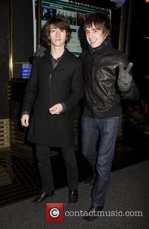Alex Turner, Miles Kane of The Last Shadow Puppets Seen exiting taping of Conan O'Brien Show NBC Studio, New York...