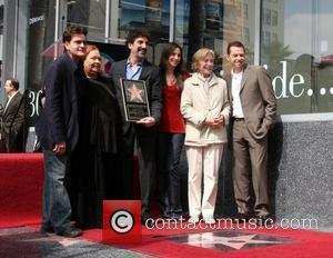 Chuck Lorre and the cast of his show 'Two & A Half Men' Hollywood Walk of Fame ceremony for Chuck...