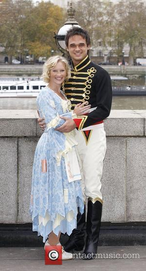 Joanna Page and Gareth Gates attend a press call for the pantomime 'Cinderella' at the County Hall London, England -...
