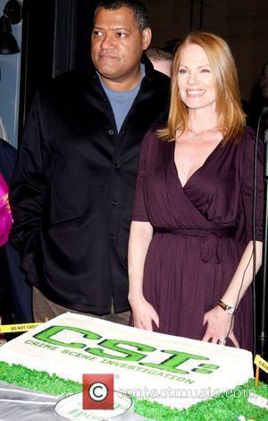 Lawrence Fishburne, Marg Helgenberger attend the CSI 200th episode celebration held at the Universal Studios Stage 24 Los Angeles, California...