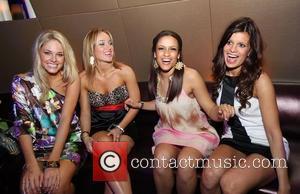 Abigail Klein, Brooke Sorenson, Ryan Ray and Trish Trevino (L-R) Dallas Cowboy Cheerleaders at Aura Nightclub, Atlantis Paradise Island, The...
