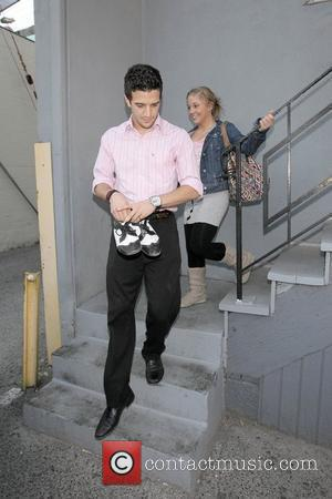 Olympic gold-medal gymnast Shawn Johnson and her partner Mark Ballas leaving their first practice for the new season of Dancing...