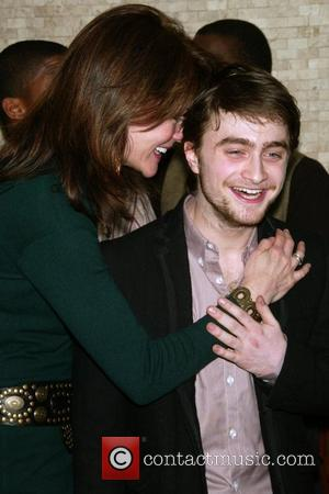 Carolyn McCormick and Daniel Radcliffe Daniel Radcliffe receives a portrait on Tony's di Napoli Wall of Fame to commemorate his...