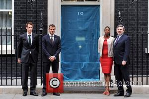 David Beckham, Andy Murray and Denise Lewis   visiting Prime Minister Gordon Brown at No.10 Downing Street to mark...