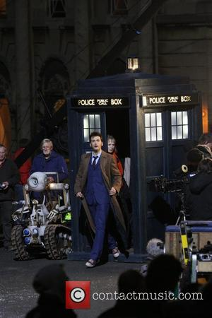 David Tennant and Lindsay Duncan filming a 'Doctor Who' special Wales, England