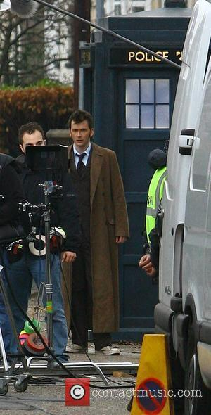 David Tennant filming on the set of the BBC's 'Doctor Who' Cardiff, Wales