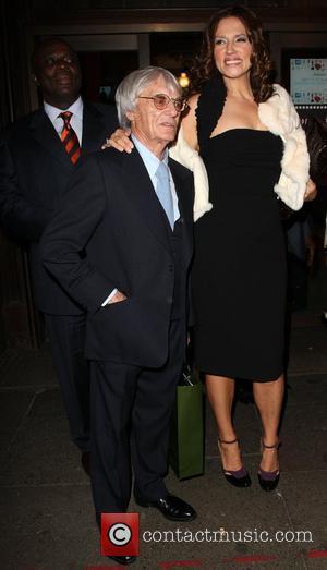 Bernie Ecclestone and Slavica Ecclestone departing the launch party for Petra Ecclestone's Form Menswear at Harrods London, England - 02.10.08