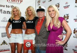 Karissa Shannon, Kristina Shannon, Hugh Hefner and Crystal Harris 'Fight Night' at the Playboy Mansion Los Angeles, California - 21.03.09