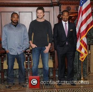F. Gary Gray, Gerard Butler and Jamie Foxx Stars of the upcoming film, 'Law Abiding Citizen,' are welcomed to Philadelphia...