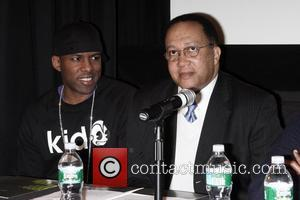 DJ Whoo Kid and Dr. Benjamin Chavis Press conference to announce Russell Simmons as the editor-in-chief of GlobalGrind.com held at...