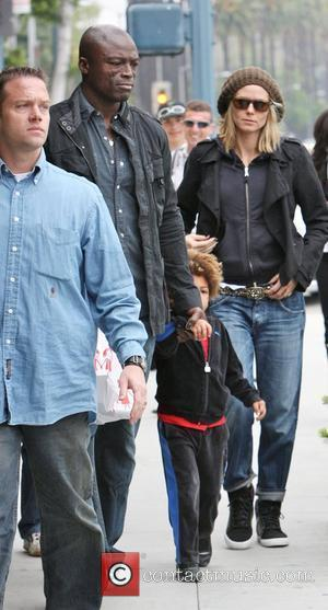 Heidi Klum, Seal and Their Son Henry Leaving 'brooks Shoes For Kids' After Shoe Shopping In Beverly Hills.