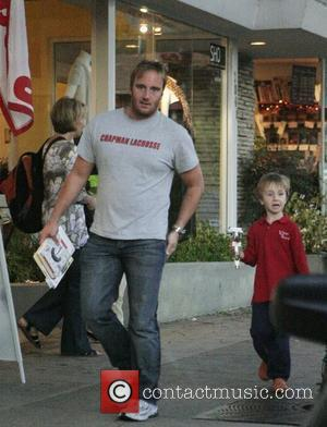 Jay Mohr and his son Jackson  pick up some carry out food to go at Mayberry restaurant Los Angeles,...