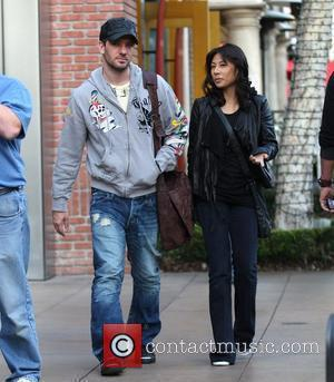 JC Chasez from 'N Sync, wearing an Ed Hardy gray hoodie, goes shopping with a friend at The Grove Los...