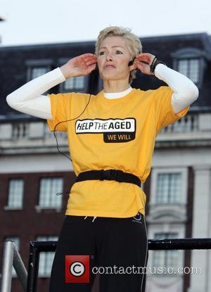 Nell McAndrew hosts Aerobic warm-up in Victoria Gardens before the start of the 10k Help the Aged Leeds Abbey Dash...