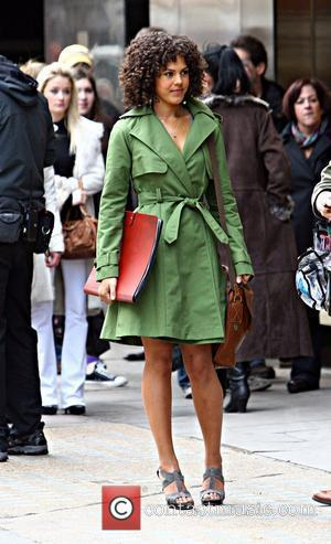 Lenora Crichlow who plays 'Annie' in BBC series 'Being Human' filming on location outside a Gucci store in central London...