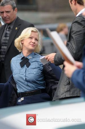 Gretchen Mol on the set of 'Life On Mars' filming at Coler-Goldwater Hospital on Roosevelt Island New York City, USA...