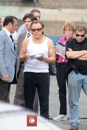 Harvey Keitel eats some lunch on the set of 'Life On Mars' filming at Coler-Goldwater Hospital on Roosevelt Island New...