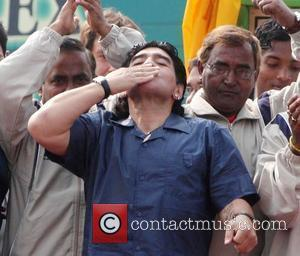 Diego Maradona argentian soccer legend participates in the foundation stone laying ceremony of Indian Football School, Eden City at Maheshtala....