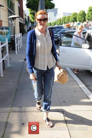 'Desperate Housewives' star Marcia Cross says goodbye to 'Gossip Girl' star Kelly Rutherford after having lunch at Urth Cafe in...