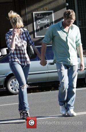 Delta Goodrem and Brian McFadden  walk back to their apartment together after a long lunch at their favourite restaurant...