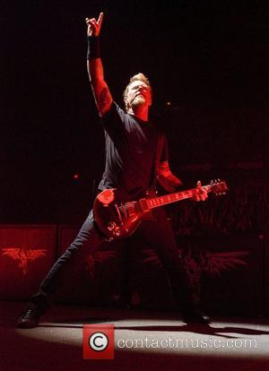 James Hetfield of Metallica performs live in concert on their Monster Magnetic Tour at the Allstate Arena, Rosemont in Chicago....