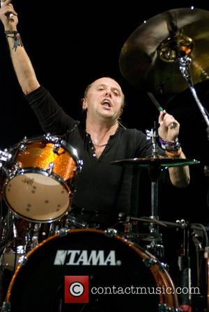 Lars Ulrich of Metallica performs live in concert on their Monster Magnetic Tour at the Allstate Arena, Rosemont in Chicago....