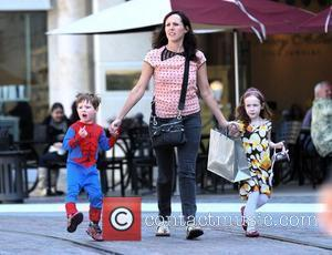 Molly Shannon takes her children Nolan, dressed as Spider-Man, and Stella shopping in Hollywood Los Angeles, California - 07.03.09