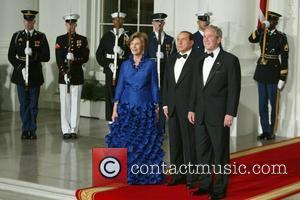 First Lady Laura Bush, Prime Minister Silvio Berlusconi and President George W. Bush President and Mrs Bush welcome Italian Prime...