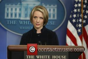White House Press Secretary Dana Perino stuns reporters as she steps out with a black eye during a press conference...