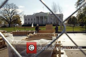 Construction on a reviewing stand in front of the White House has begun in preparations for the inauguration ceremony of...