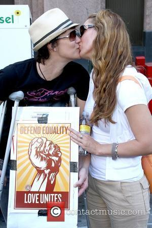 Michelle Wolff and Girlfriend No on Prop 8 Protest Rally held at Los Angeles City Hall Road store Los Angeles,...