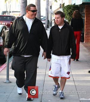 American actor and stand-up comedian Nick Swardson (right) out and about in Beverly Hills with a friend Los Angeles, California...