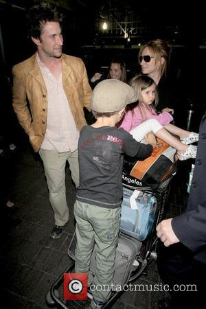 Noah Wyle, Owen Wyle, Auden Wyle and Tracy Warbin Noah Wyle and family arriving at LAX  Los Angeles, California...