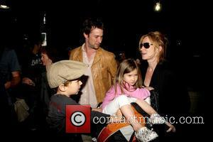 Noah Wyle, Owen Wyle, Tracy Warbin and Auden Wyle Noah Wyle and family arriving at LAX  Los Angeles, California...